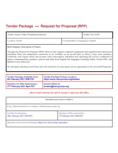 tender package proposal