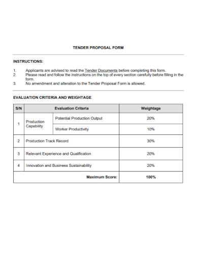 tender proposal form