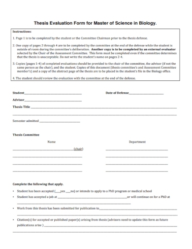 thesis evaluation form