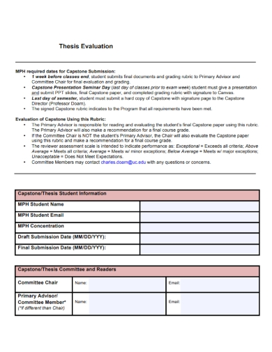 thesis evaluation