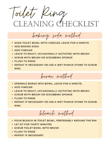toilet ring cleaning checklist