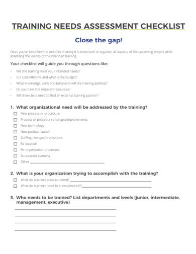 training needs assessment checklist