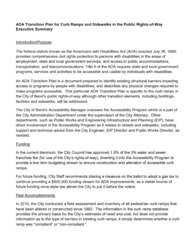 transition plan public executive summary