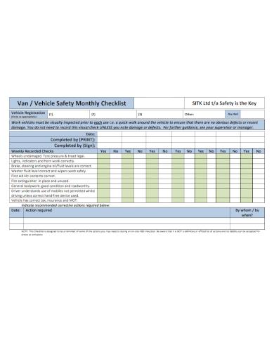 vehicle safety monthly checklist