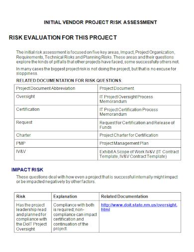vendor project risk assessment