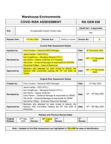 warehouse environment risk assessment