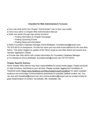 web administrators turnover checklist