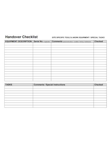 work equipment handover checklist