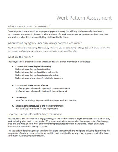 work pattern assessment