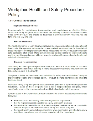 workplace health and safety procedure policy