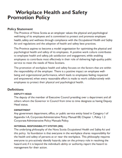 workplace health and safety promotion policy