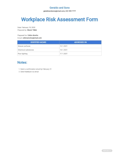 workplace risk assessment form template