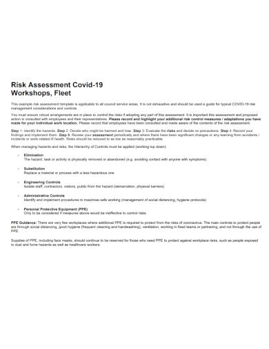 workshop covid 19 risk assessment