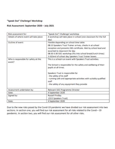 workshop event risk assessment