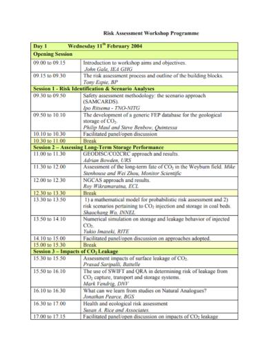 workshop programme risk assessment