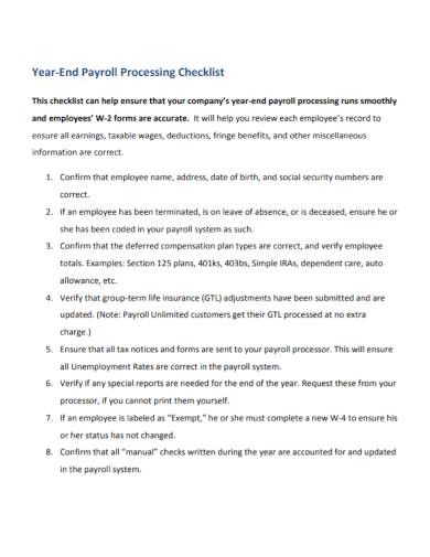 year end payroll processing checklist