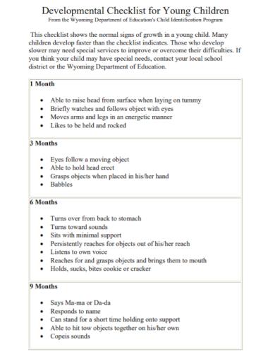 young children developmental checklist