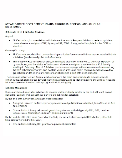 5 year career scholar development plan
