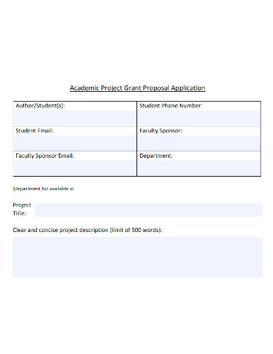 academic project grant proposal application