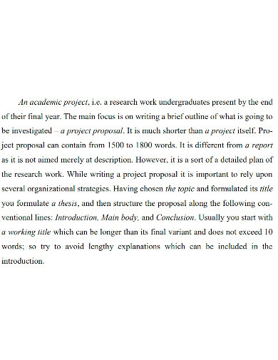 academic project proposal format