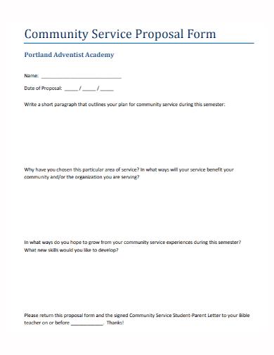 academy community service proposal