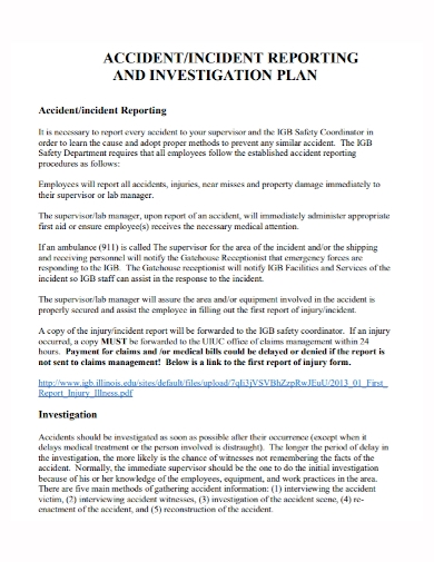 accident and incident investigation plan report