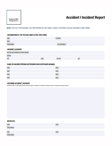 accident and incident management report