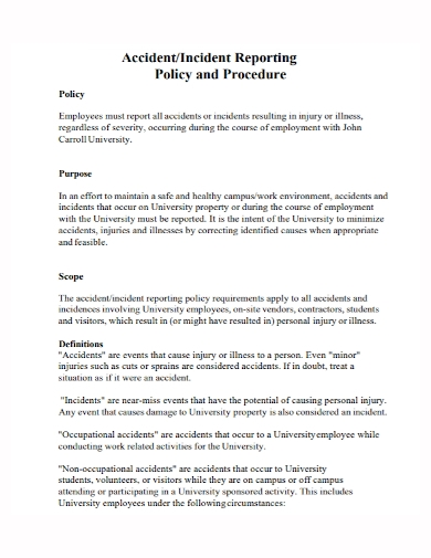 accident and incident policy report