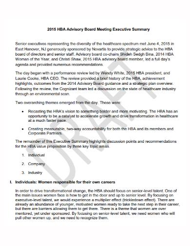 advisory board meeting executive summary