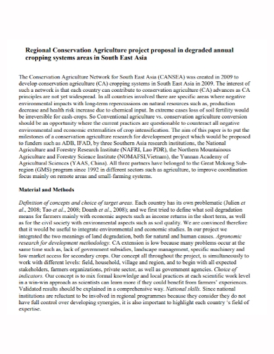 agricultural conservation project proposal