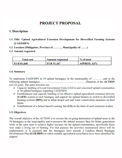 agricultural extension project proposal