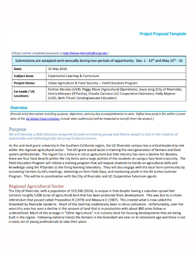 agricultural food security project proposal