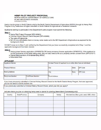 agricultural pilot project proposal