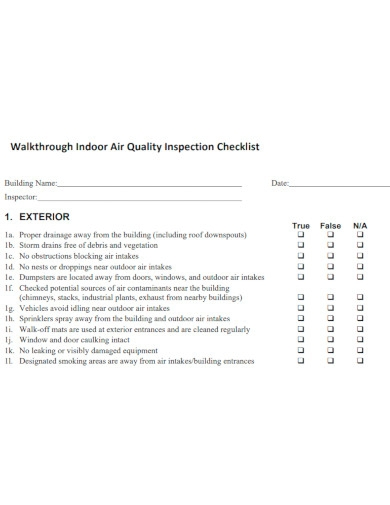 air quality inspection checklist