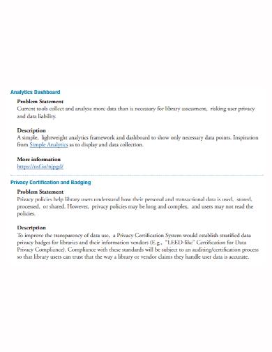 analytics dashboard problem statement