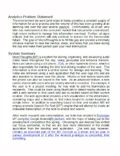 analytics system problem statement