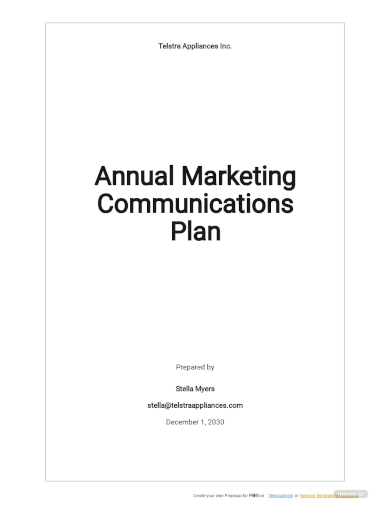 annual marketing communications plan template