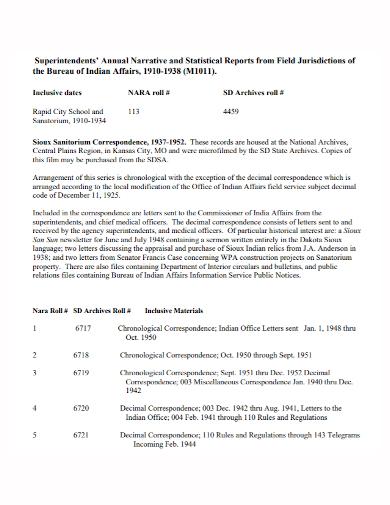 annual narrative statistical report