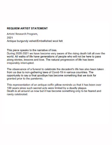 artist research program statement