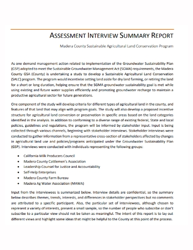 assessment interview summary report