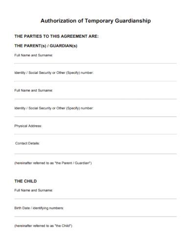 authorization of temporary guardianship agreement