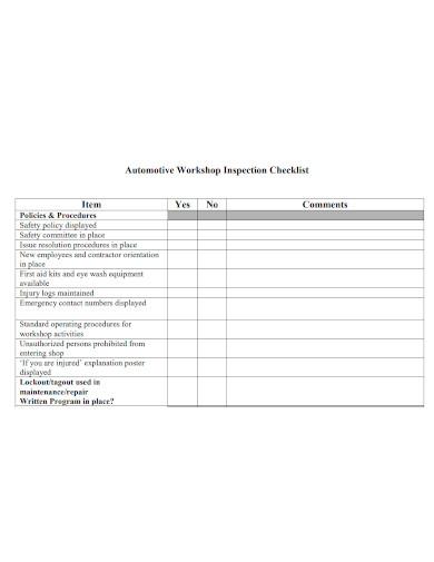 automotive workshop inspection checklist