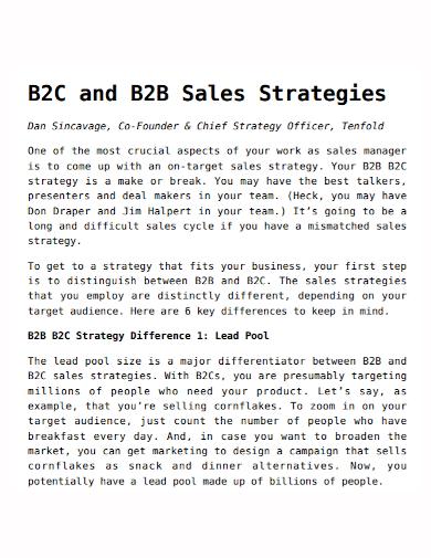b2b and b2c sales strategy