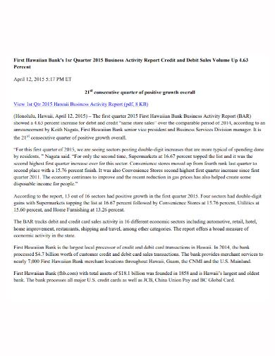 bank quarterly sales activity report