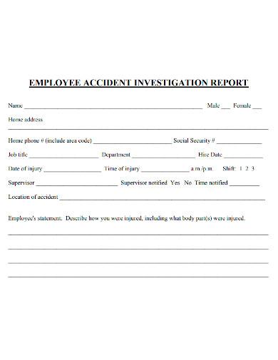 basic employee investigation report