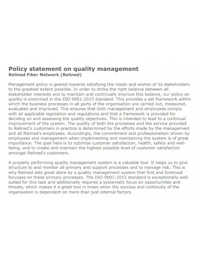 basic quality management policy statement