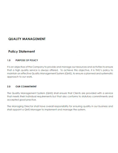 basic quality management statement