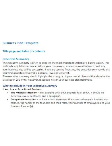 basic university business plan