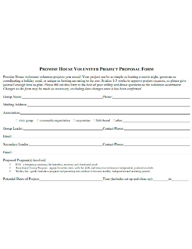 basic volunteer project proposal form