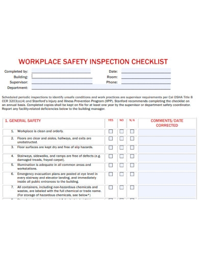 basic workplace safety inspection checklist